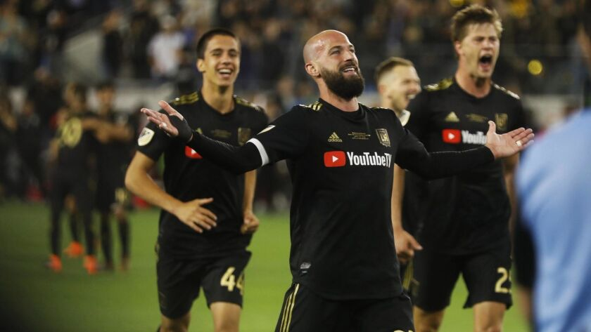 LAFC player Laurent Ciman acknowledges the cheers from the crowd after scoring the game winning goal against the Seattle Sounder.