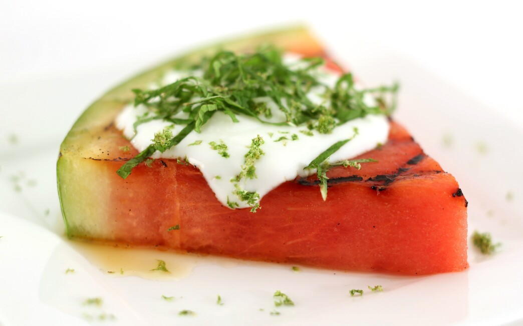 Grilled watermelon with mint, lime, honey and yogurt