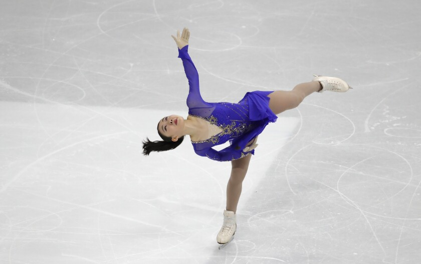 Japan's Rika Kihira performs during the ladies' single short program competition in the ISU Four Continents Figure Skating Championships in Seoul, South Korea, Thursday, Feb. 6, 2020. (AP Photo/Lee Jin-man)