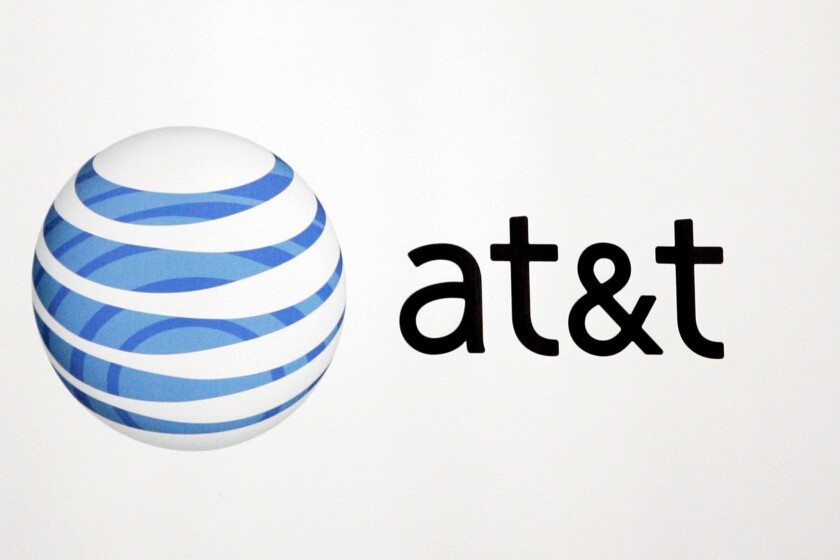 The AT&T Inc. logo at the EMC World conference in Las Vegas.
