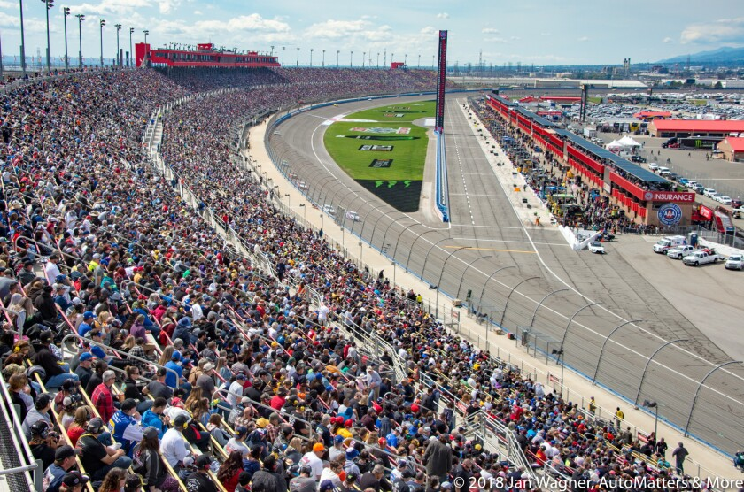 01630-20180318 NASCAR Monster Energy Cup Series Auto Club 400 & Victory Lane-winner 78 Martin Truex Jr+Monster motorcycle & truck stunts in Fan Zone-D4S