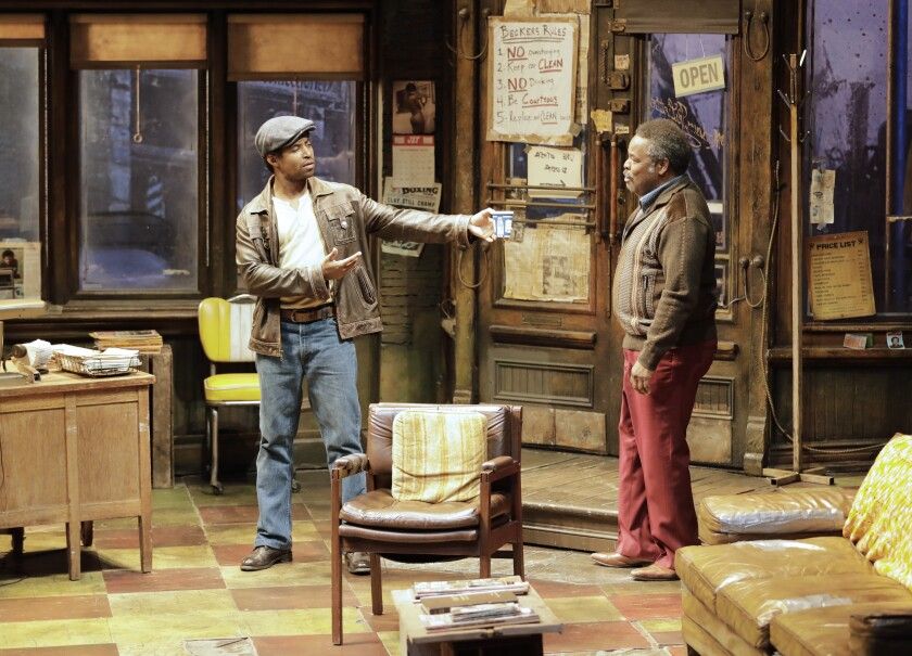 "Amari Cheatom, left, and Ray Anthony Thomas in August Wilson's ""Jitney"" at the Taper."