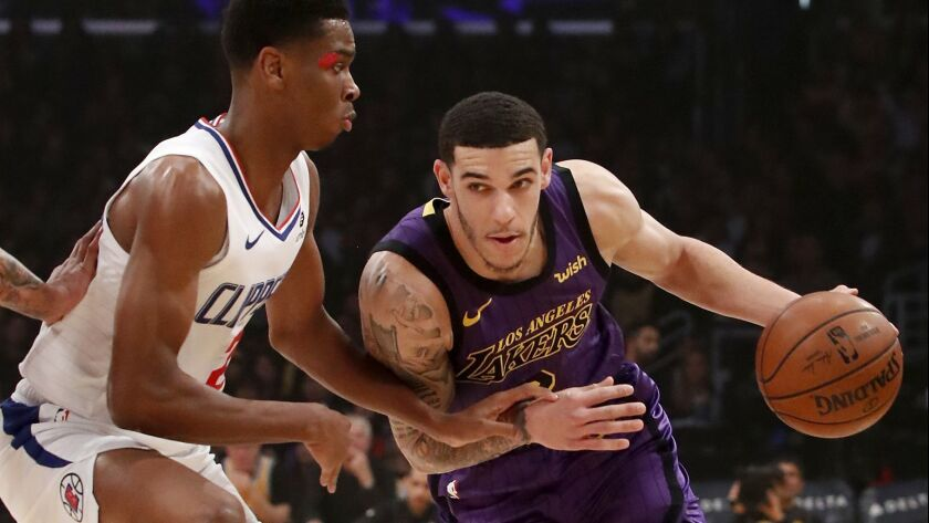 Lakers guard Lonzo Ball drives to the basket against Clippers guard Shai Gilgeous-Alexander in the first quarter on Friday at Staples Center.