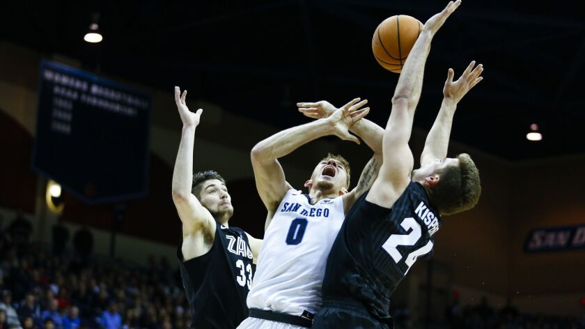 USD's Isaiah Piniero is fouled by Gonzaga's Corey Kispert (24) while going to the basket last season.