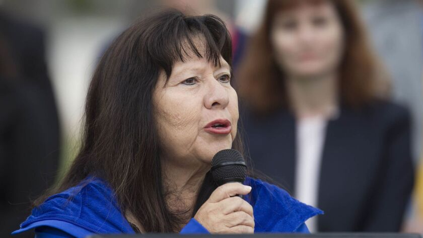 National City councilwoman Mona Rios gathered with other local elected Democrats in Balboa Park to denounce the attack in Charlottesville, Va., in August 2017.