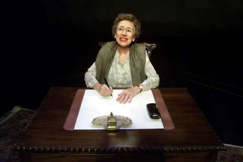 """Jean Stapleton playing Eleanor Roosevelt in a 2000 production of """"Eleanor: Her Secret Journey"""" at the Canon Theatre in Beverly Hills."""
