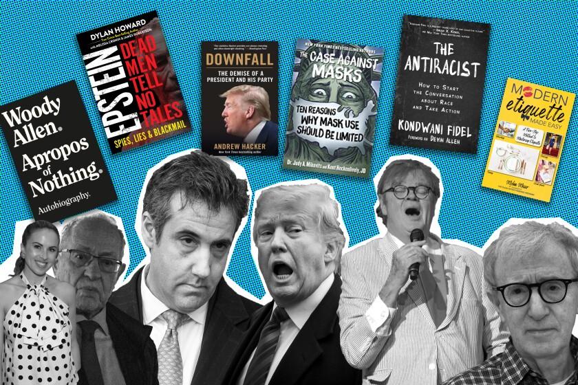 Myka Meir, left, Alan Dershowitz, Michael Cohen, President Trump, Garrison Keillor and Woody Allen.