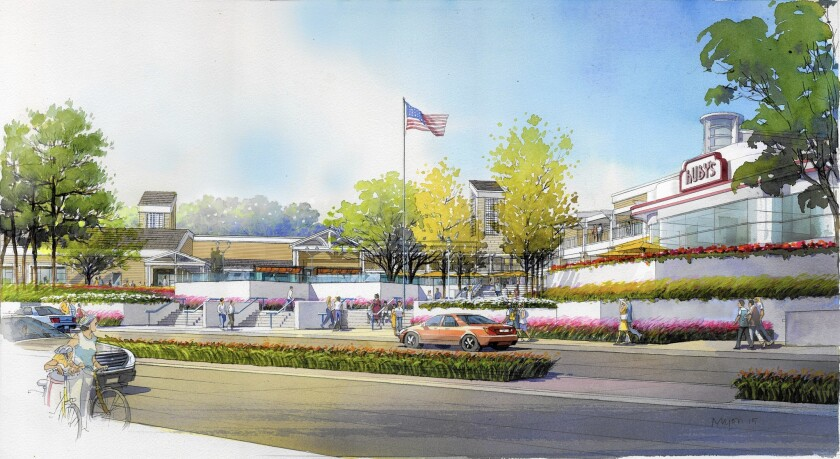 An artist's rendering depicts a view of a revamped Woodbridge Village Center from Barranca Parkway in Irvine.