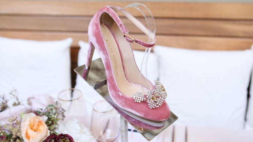 For spring, Chloe Gosselin's signature Helix heel will come in a dusky rose velvet.
