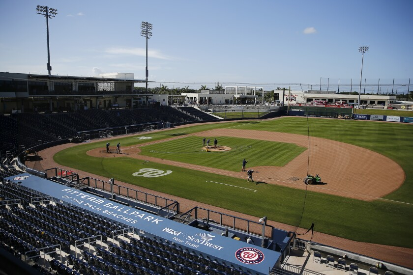 A view of FITTEAM Ballpark in West Palm Beach, Fla., after a spring training game between the Yankees and Nationals on March 12.