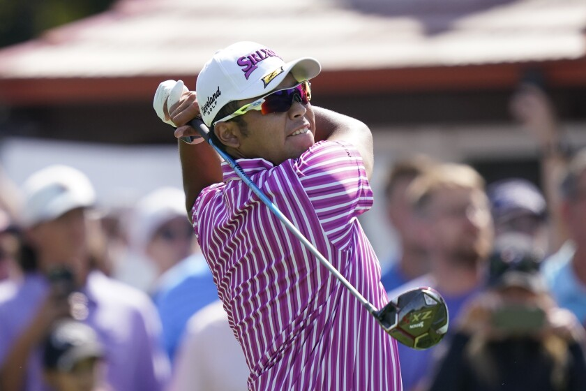 Hideki Matsuyama of Japan drives off the third hole tee during the first round of the Rocket Mortgage Classic golf tournament, Thursday, July 1, 2021, at the Detroit Golf Club in Detroit. (AP Photo/Carlos Osorio)
