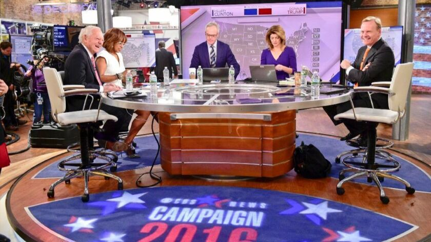 CBS 2016 election rehearsal with, from left, Bob Schieffer, Gayle King, Scott Pelley, Norah O'Donnell and John Dickerson.