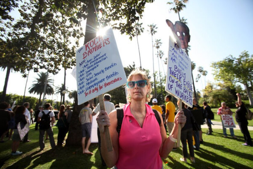 Activists protest possible sale of L.A. Times to Koch brothers