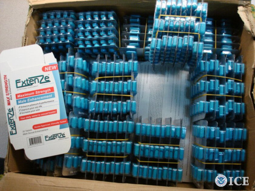 Counterfeit male enhancement pills seized by federal authorities.