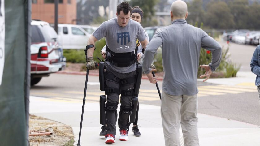 Brandon Myers is be the first San Diego VA patient to be issued 'robotic legs.' The ReWalk Exoskelet