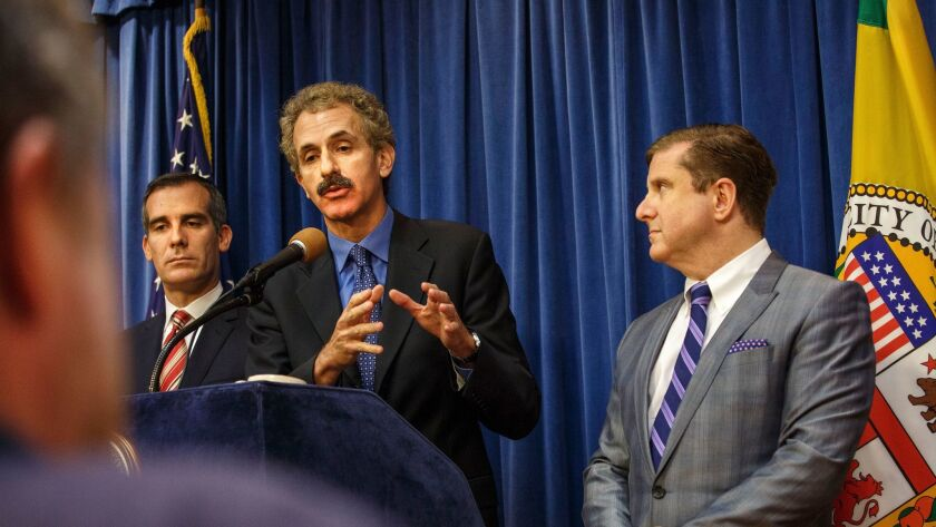 Los Angeles Mayor Eric Garcetti, City Atty. Mike Feuer and City Controller Ron Galperin at a news conference in 2015.