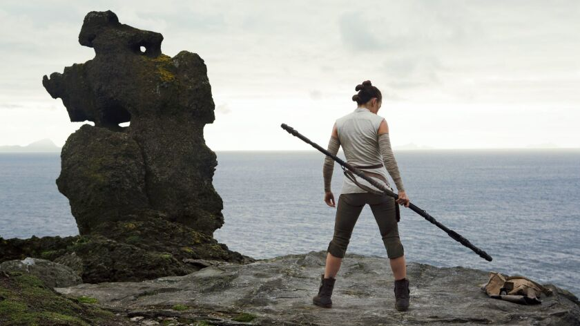 "Daisy Ridley as 'Rey' in a scene from the movie ""Star Wars: The Last Jedi."" Credit: Jules Heath / Lu"
