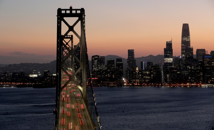 A view of the San Francisco skyline in August.
