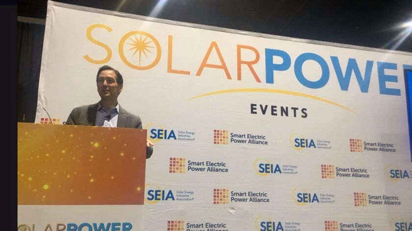 Sean Gallagher, vice president for state affairs at the the Solar Energy Industries Association, tal