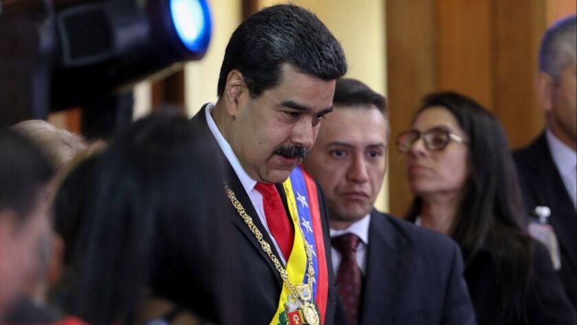 Venezuelan President Nicolas Maduro arrives at the opening ceremony of the judicial year in Caracas, Venezuela on Jan. 24.