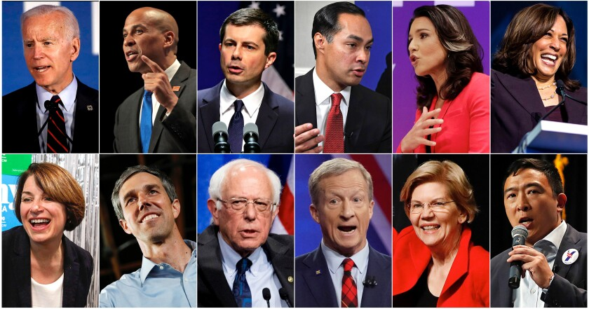 Photos of Joe Biden, Cory Booker, Pete Buttigieg, Julián Castro, Tulsi Gabbard, Kamala Harris, Amy Klobuchar, Beto O'Rourke, Bernie Sanders, Tom Steyer, Elizabeth Warren and Andrew Yang.