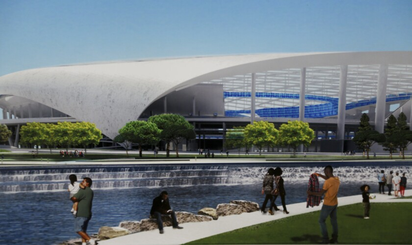 Shown is an artist's rendering of the planned NFL stadium at the former Hollywood Park racetrack in Inglewood.