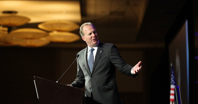 Former San Diego Mayor Kevin Faulconer  speaking in 2016. He reported $1.5 million in donations to causes last year