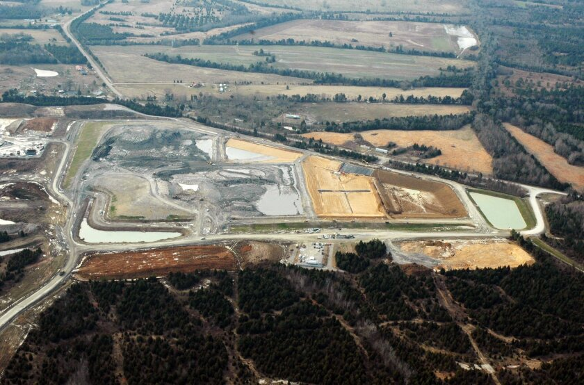 This file photograph taken Feb. 10, 2010, shows the massive Arrowhead Landfill near Uniontown, Ala. Opponents of the landfill are asking a federal court to dismiss a slander lawsuit filed by the Georgia-based landfill operators, Thursday, June 2, 2016, who contend they have been wrongly maligned by