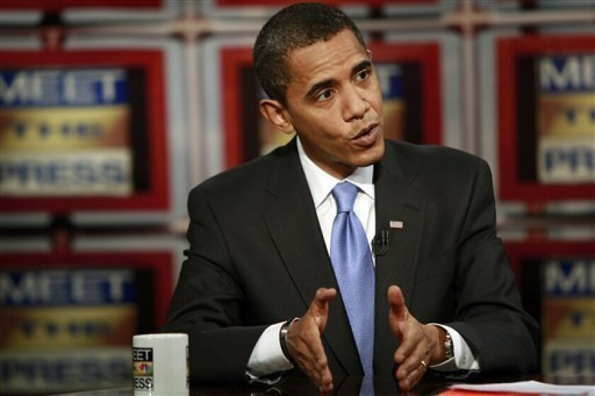 """In this photograph provided by """"Meet the Press,"""" President-elect Barack Obama appears during a taping of """"Meet the Press'"""" Saturday, Dec. 6, 2008, in Chicago. The interview was broadcast Sunday, Dec. 7, 2008. (AP Photo/Meet The Press, Alex Wong)"""