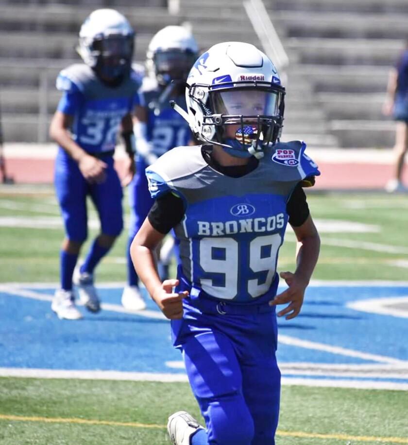Cal Cella takes the field for the Rancho Bernardo Broncos 10U team.