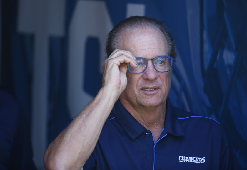 Chargers owner Dean Spanos looks on before a game against the Denver Broncos in Carson on Oct. 6.
