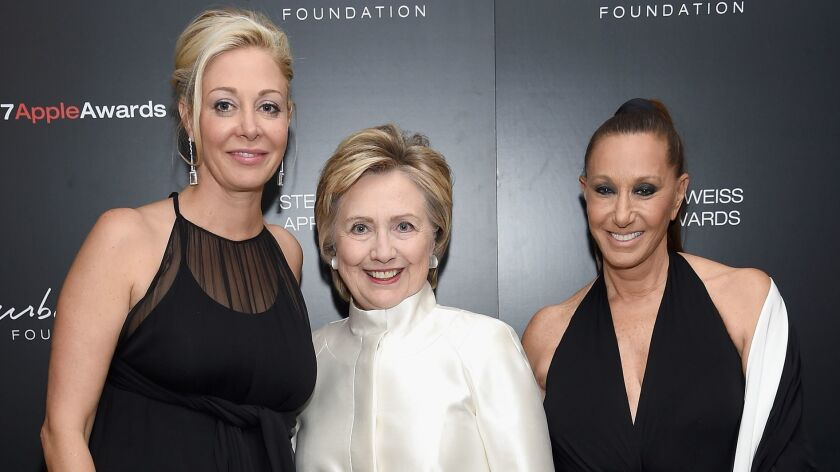 NEW YORK, NY - JUNE 07: Nadja Swarovski, Hillary Rodham Clinton and Donna Karen attend the 2017 Ste
