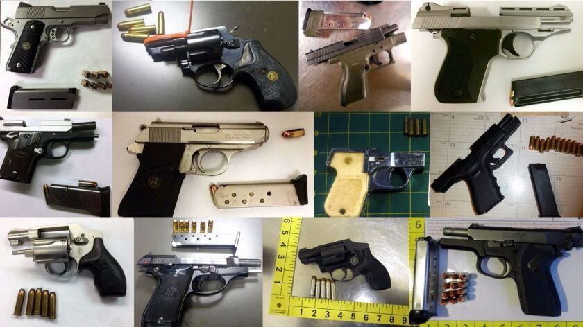 In addition to the thousands of firearms discovered in carry-on bags by airport security agents in 2016 were other assorted weapons, including axes, blowtorches and machetes.