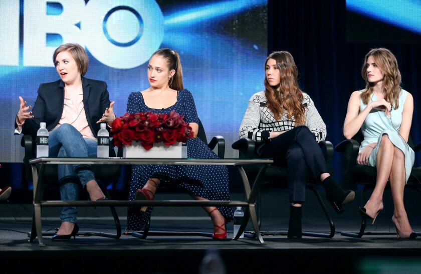 """From left, actresses Lena Dunham and co-stars Jemima Kirke, Zosia Mamet and Allison Williams at the """"Girls"""" panel discussion at the HBO portion of the Television Critics Assn. tour in Pasadena."""