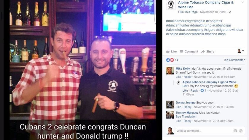 """Facebook post from Alpine Tobacco Company Cigar & Wine Bar. Rep. Duncan Hunter, shown in the posting, has said loosening of the U.S. embargo on Cuban goods """"does not look good"""" because it is """"rewarding bad people and bad behavior."""""""