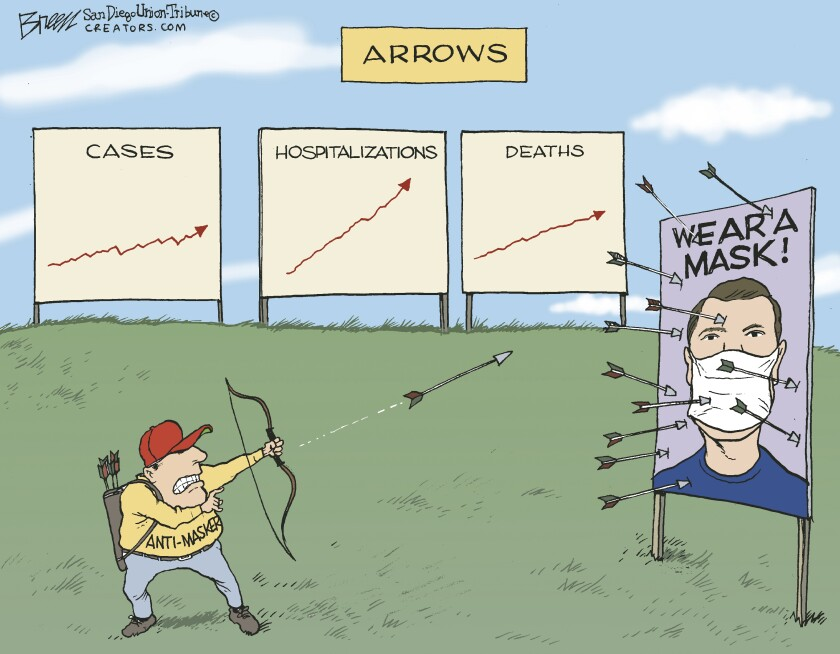 Arrows on charts show increasing cases as an 'anti-masker' shoots arrows at a PSA billboard in this Breen cartoon