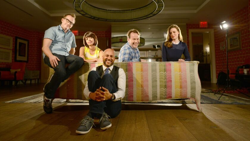 """The cast of Mike Birbiglia's """"Don't Think Twice"""": from left, Chris Gethard, Kate Micucci, Keegan-Mic"""