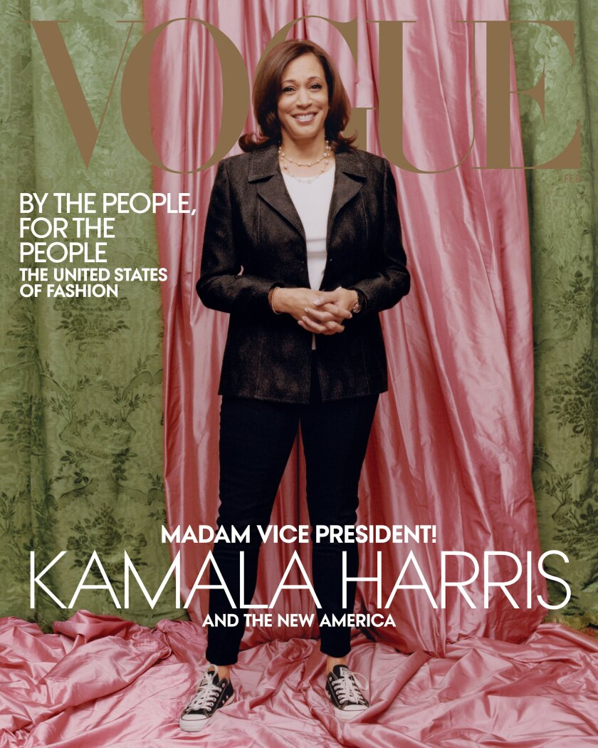 A photo of Vice President-elect Kamala Harris for Vogue magazine.