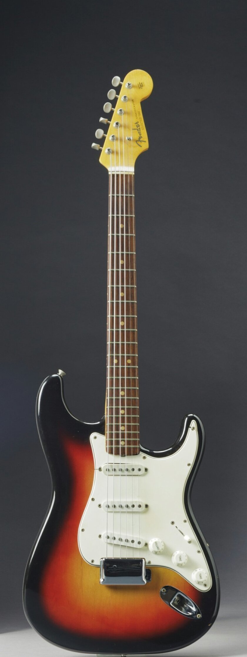This undated photo provided by Christie's shows the Fender Stratocaster a young Bob Dylan played at the historic 1965 Newport Folk Festival. On Dec. 6, 2013, it could bring as much as half a million dollars when it comes up for auction at Christie's New York. The festival marked the first time Dyla