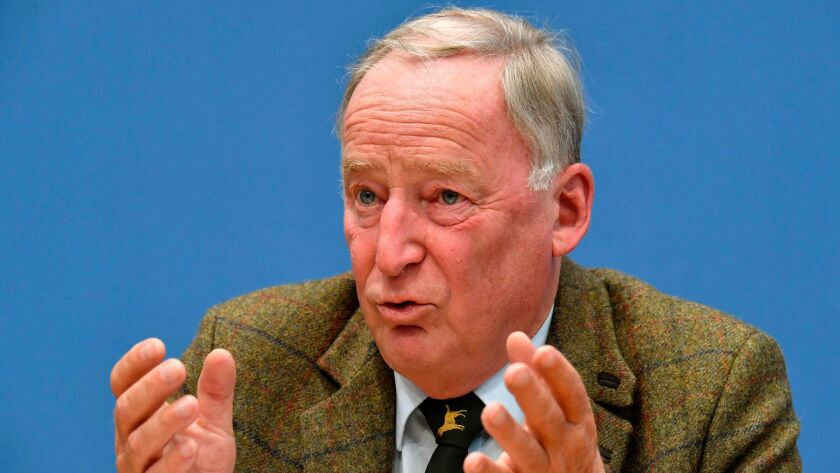 Alexander Gauland of the Alternative for Germany party addresses a news conference on Sept. 25, 2017, in Berlin.