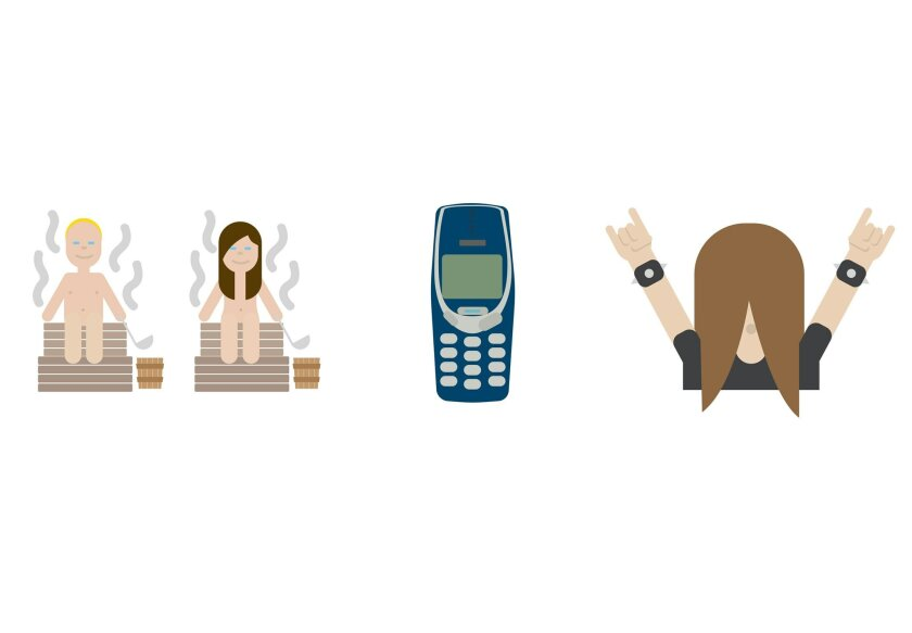 These is a computer generated emojis made available by Finland's Foreign Ministry on Wednesday Nov. 4, 2015. Finland is launching a series of 'national emojis' that include people sweating in saunas, classic Nokia phones and heavy metal head-bangers. Petra Theman from the Finnish Foreign Ministry s