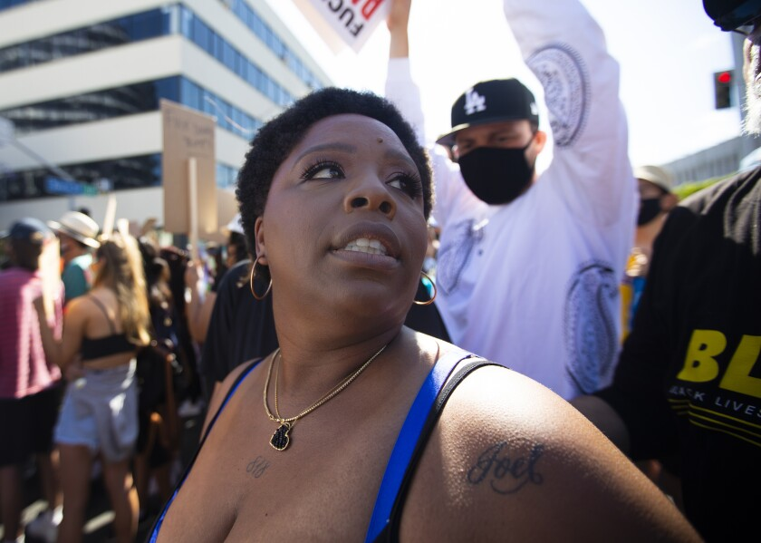 Patrisse Cullors at a Black Lives Matter march in Hollywood