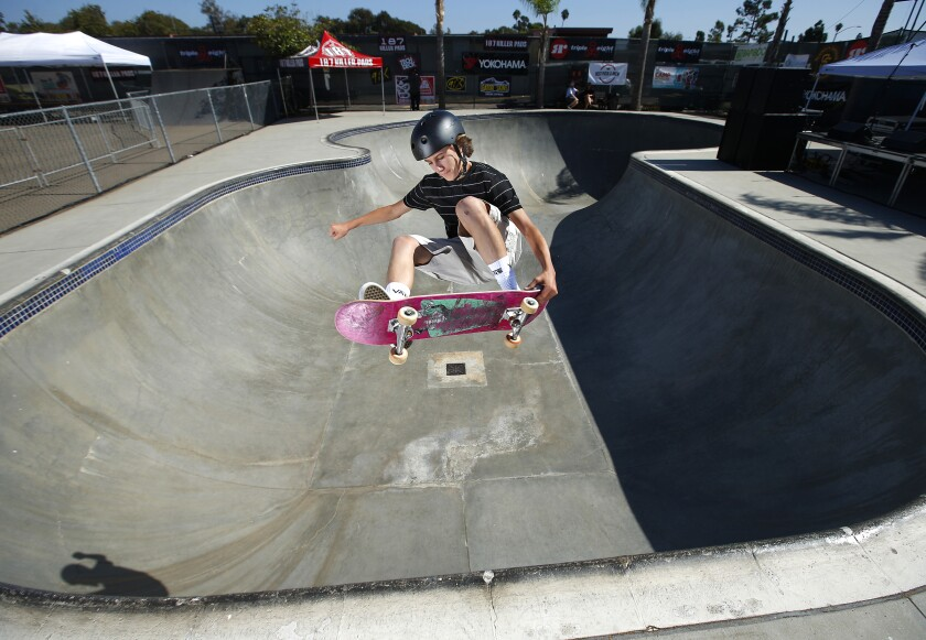 Olympic hopeful Tate Carew skateboards at the Mission Valley YMCA Krause Family Skate and Bike Park in Clairemont on Sept. 20, 2019. Carew will be one of the many skateboarders at Clash at Clairemont, a skate, BMX and music festival at the YMCA park on Saturday.