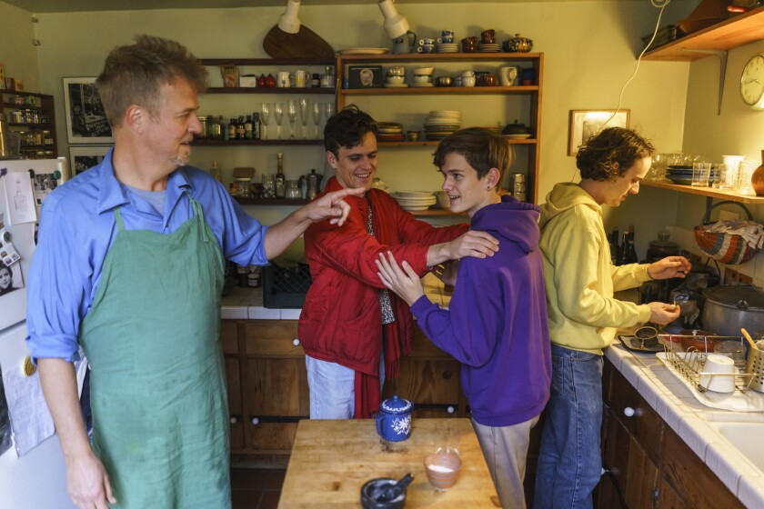 Cal Peternell and his sons Milo, Henderson and Liam, in their kitchen at home in Berkeley.