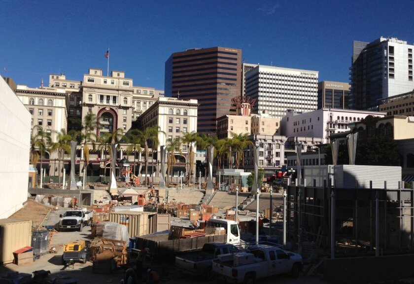 Construction continues on the expansion of Horton Plaza park downtown. Completion is expected in the first quarter of 2016.