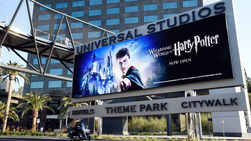 FILE - In this Aug. 23, 2016 file photo, the entrance to Universal Studios is shown in Universal Cit