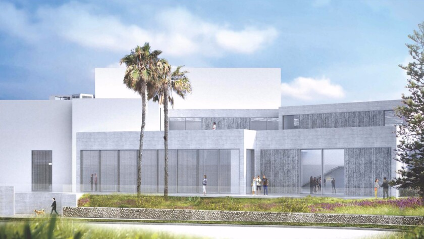 An architectural rendering shows the proposed expansion for the Museum of Contemporary Art San Diego in La Jolla.