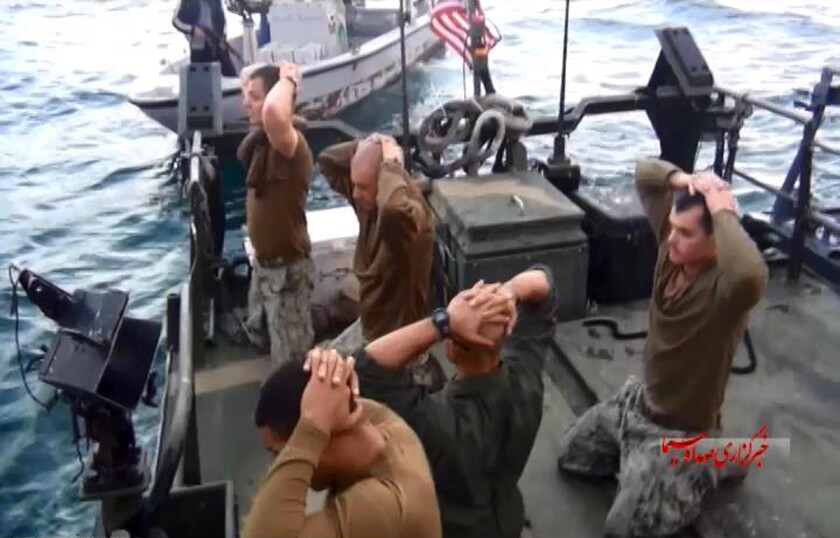 This frame grab from a video provided by the Iranian state-run IRIB News Agency shows American Navy sailors being detained by Iranian Revolutionary Guards in the Persian Gulf.