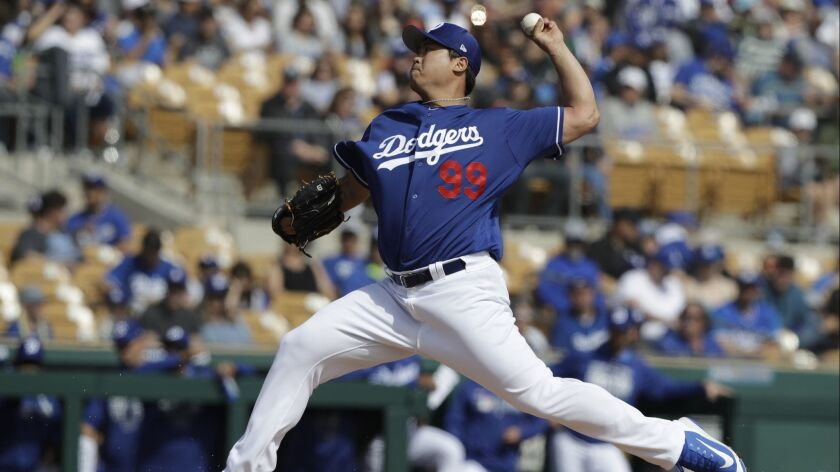 The Dodgers' Hyun-Jin Ryu looked sharp against the San Diego Padres, allowing two singles, striking out two and walking none in two innings.