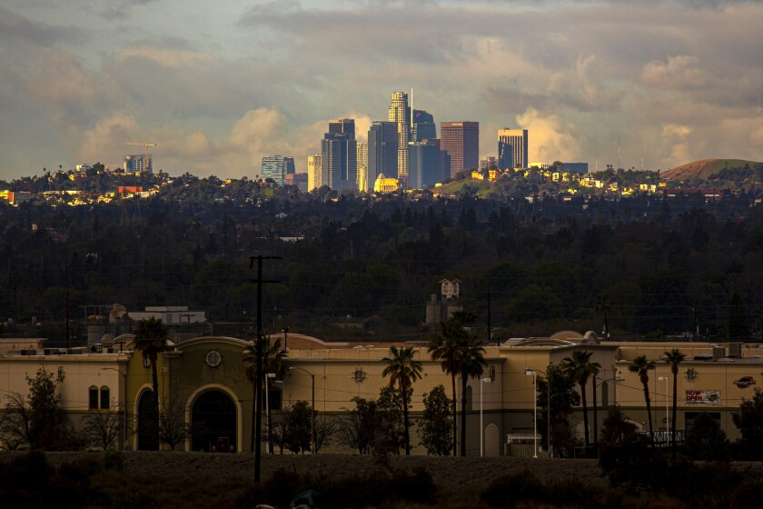 A view of downtown Los Angeles skyline